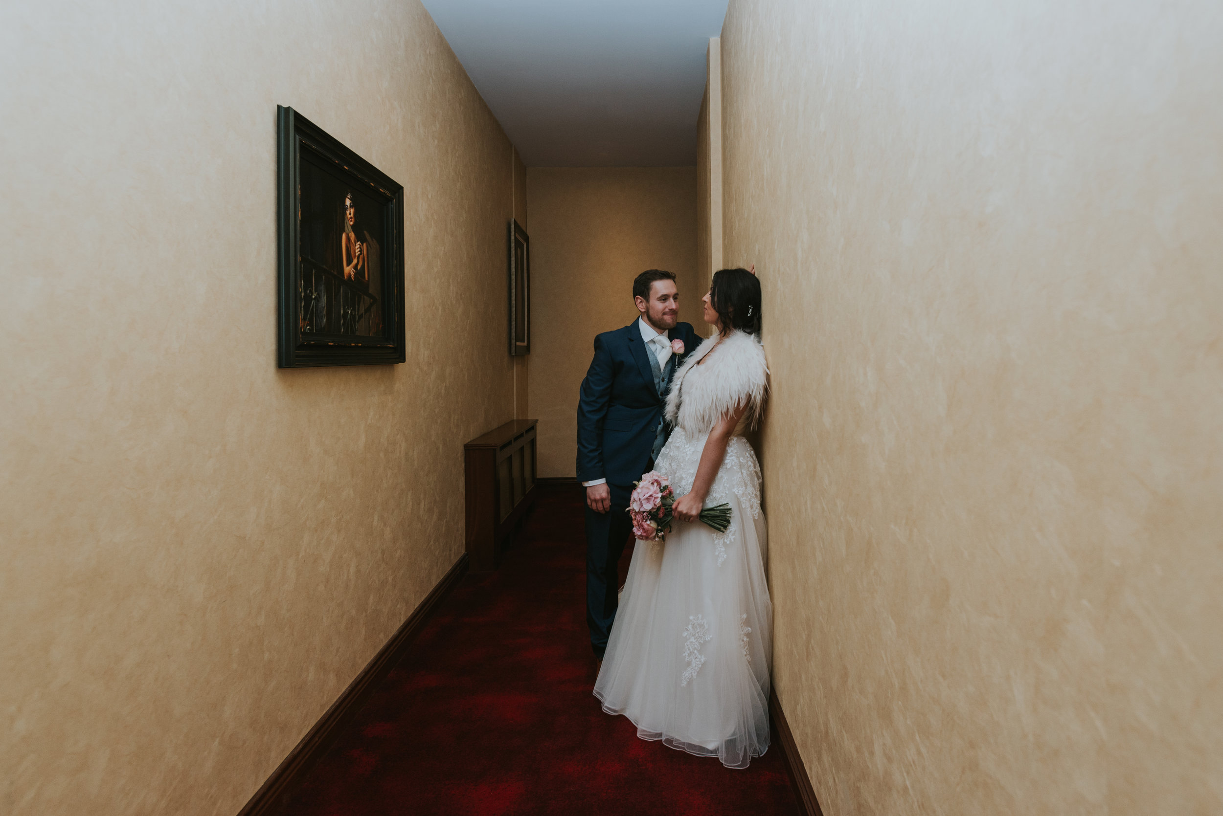 Tullyglass House Hotel wedding groom and bride