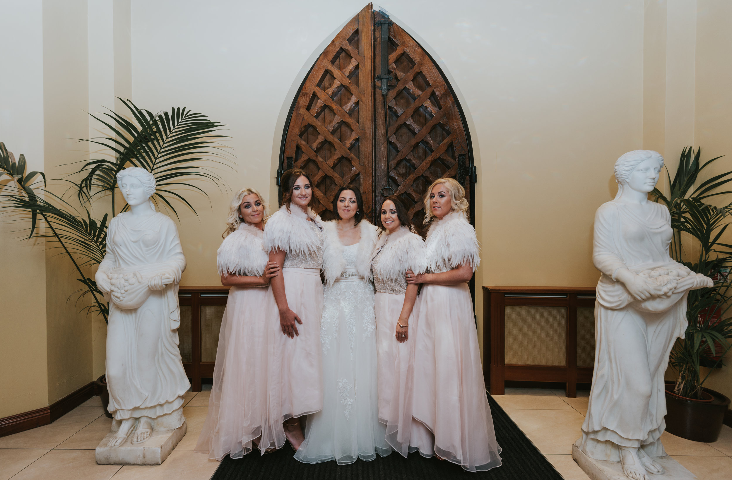 Tullyglass House Hotel wedding bride and bridesmaids
