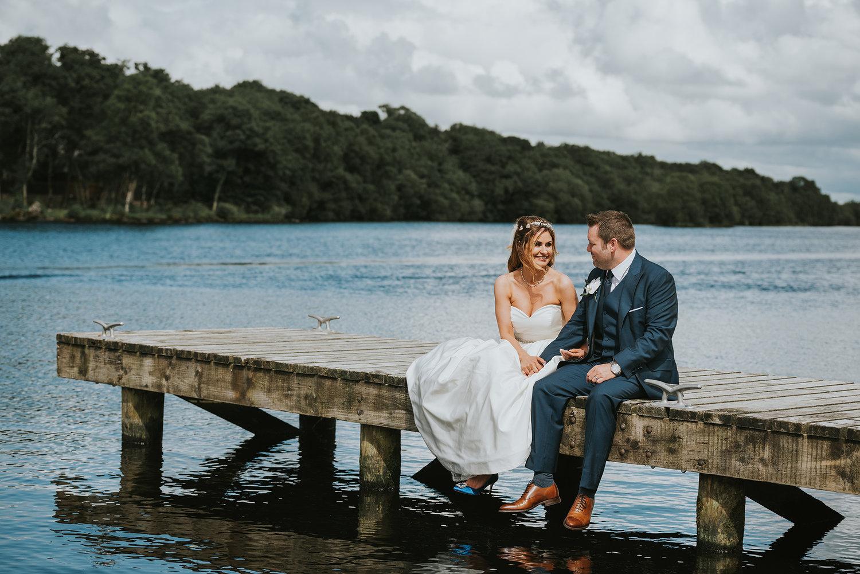 Lusty Beg Island Northern Ireland Wedding Photographers Pure Photo Bride and Groom Jetty