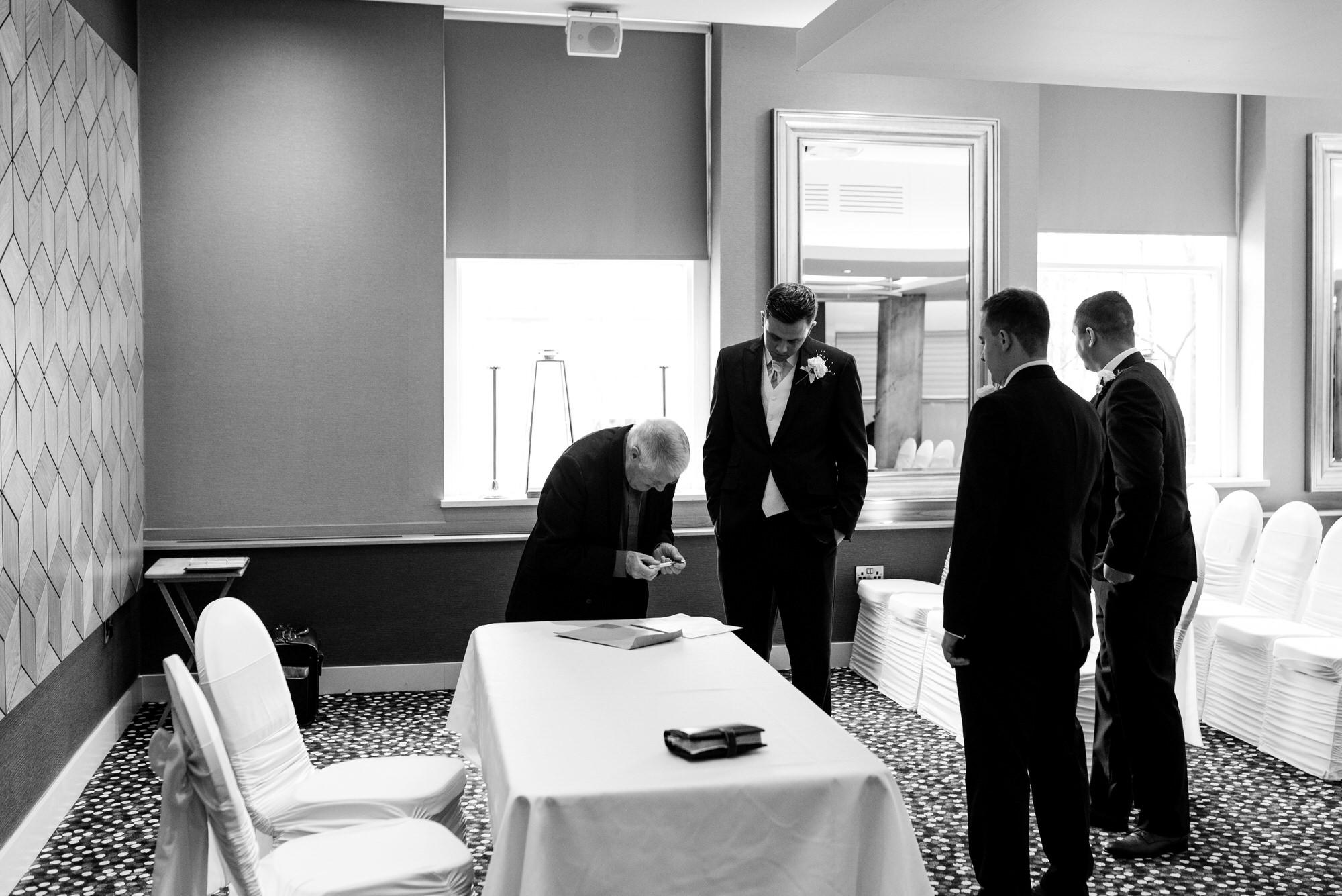 ten square hotel wedding ceremony belfast groom before