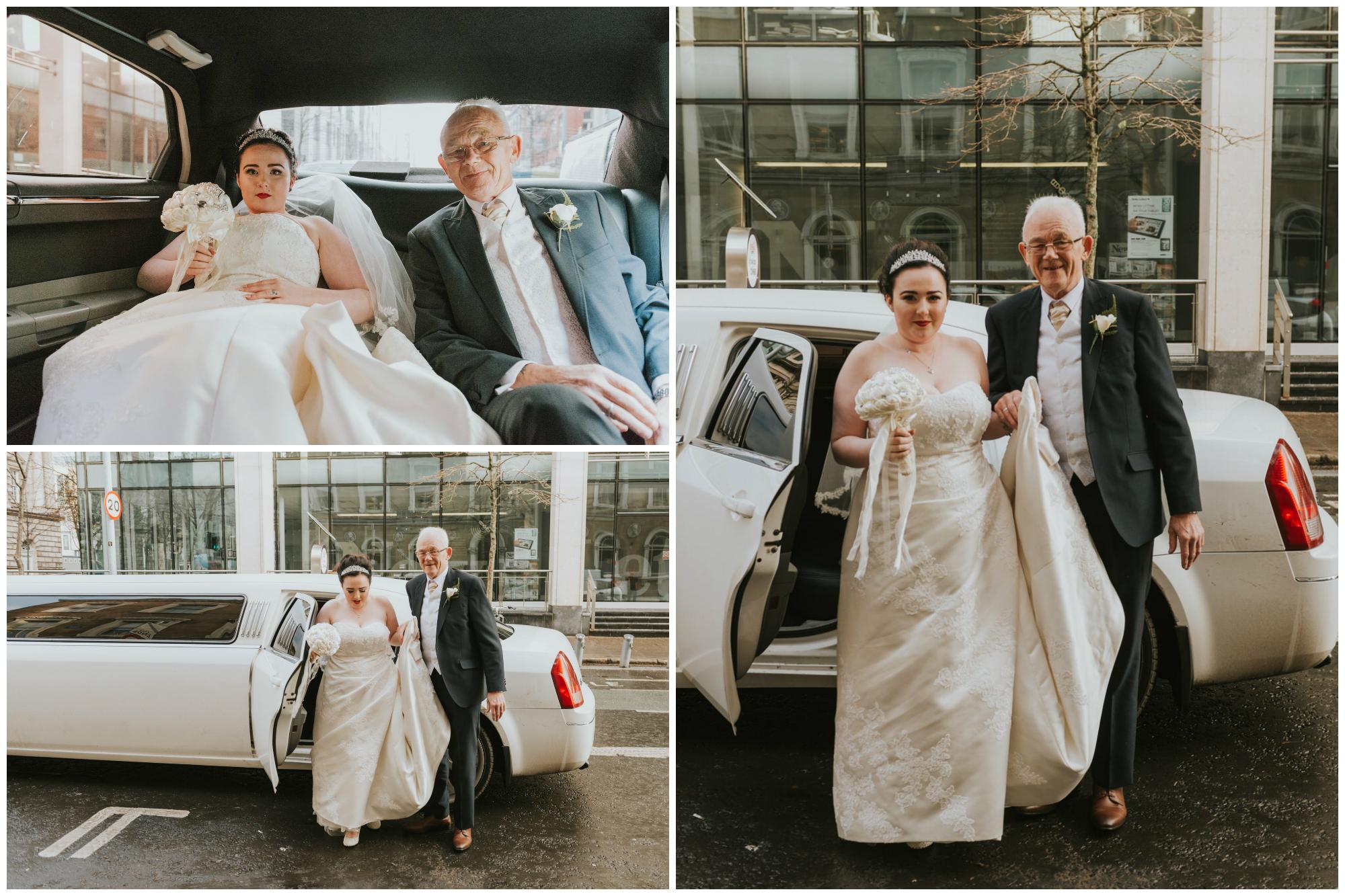 ten square hotel wedding ceremony belfast bride car