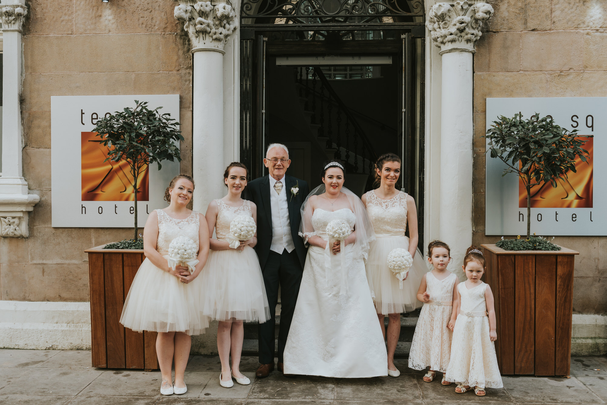 ten square hotel wedding ceremony belfast bride bridesmaids flower girls