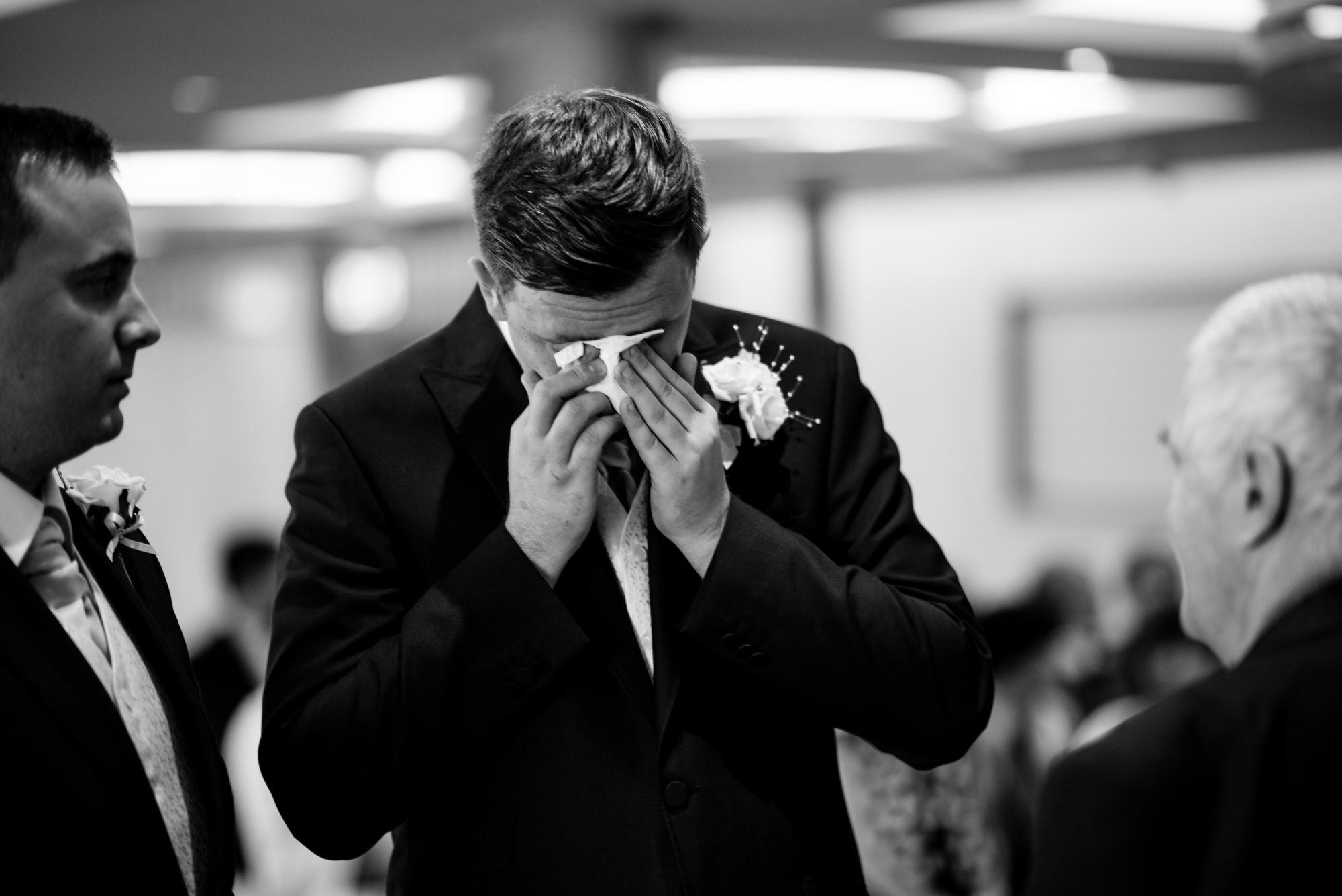 ten square hotel wedding ceremony belfast groom crying