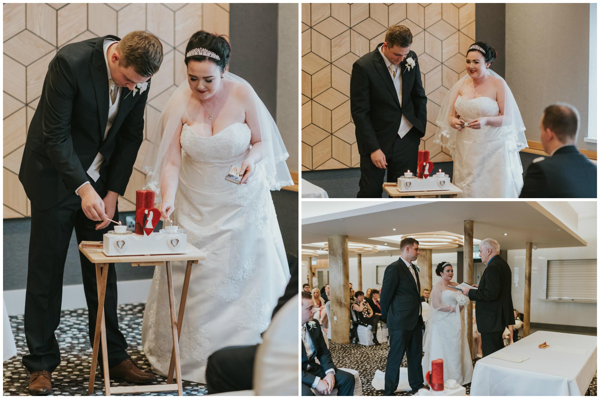 ten square hotel wedding ceremony belfast bride groom candles