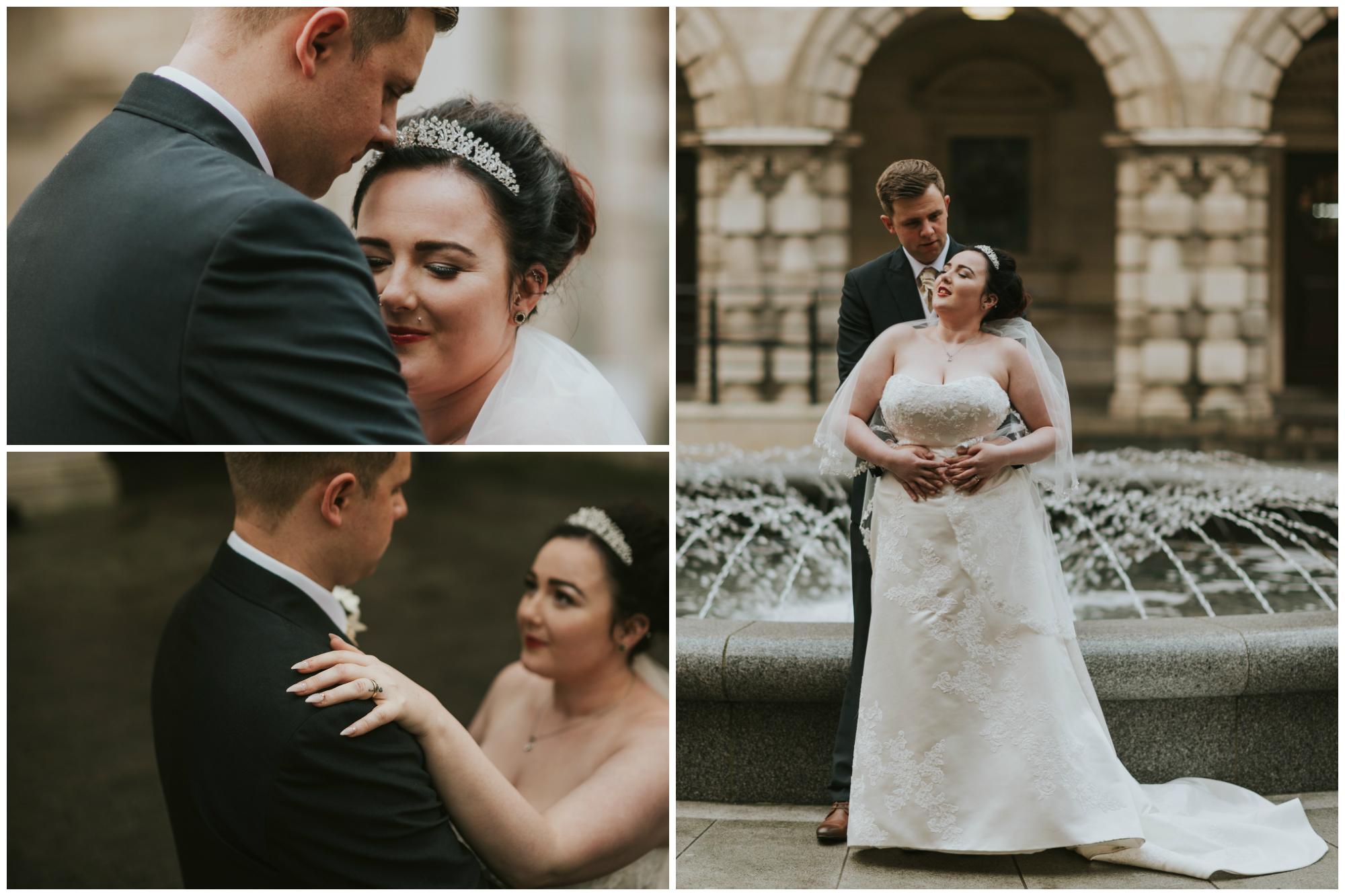 ten square hotel wedding ceremony belfast city hall groom bride portraits