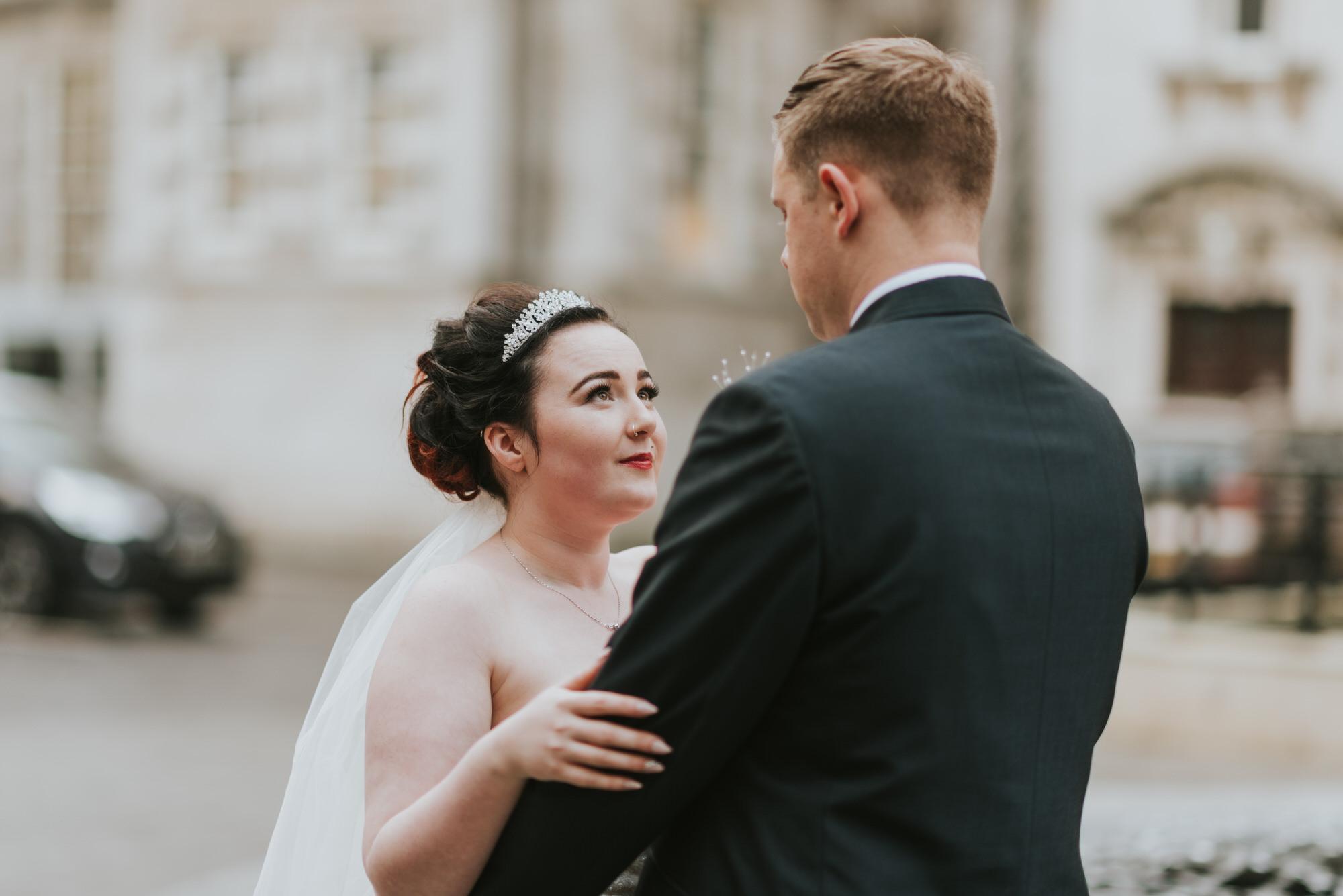 ten square hotel wedding ceremony belfast city hall groom bride portrait