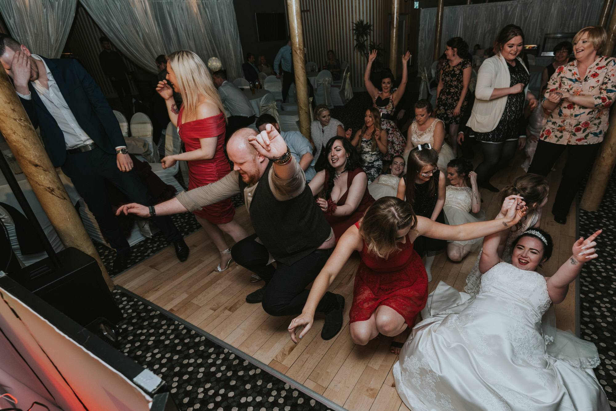 wedding photographer belfast ten square hotel dancing everyone laughing