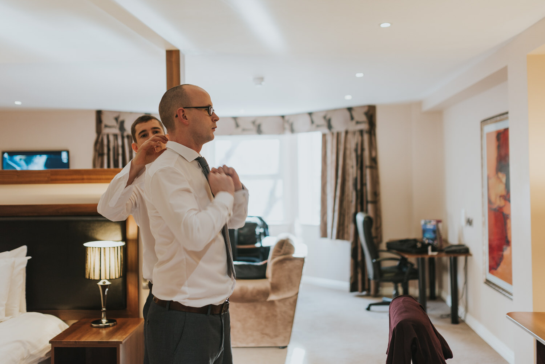 Malone lodge wedding groom getting ready