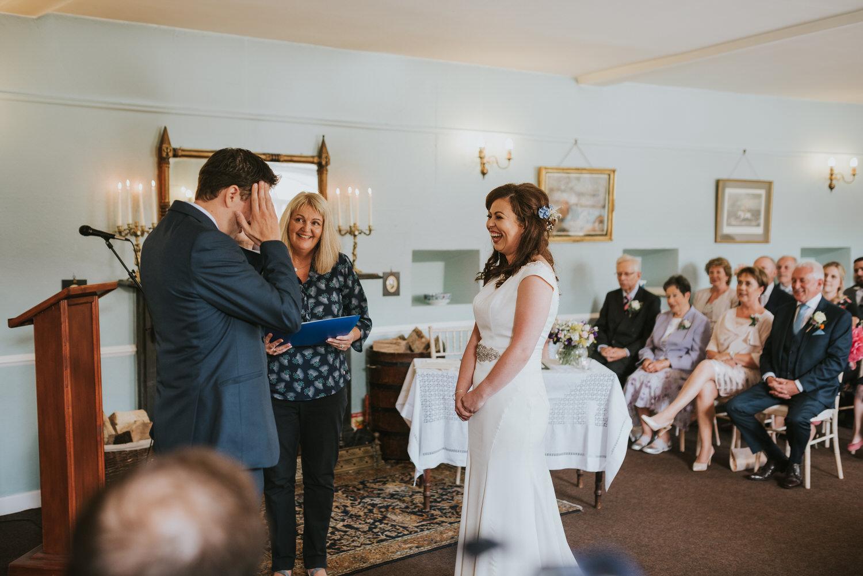 Lissanoure Castle wedding ceremony bride and groom
