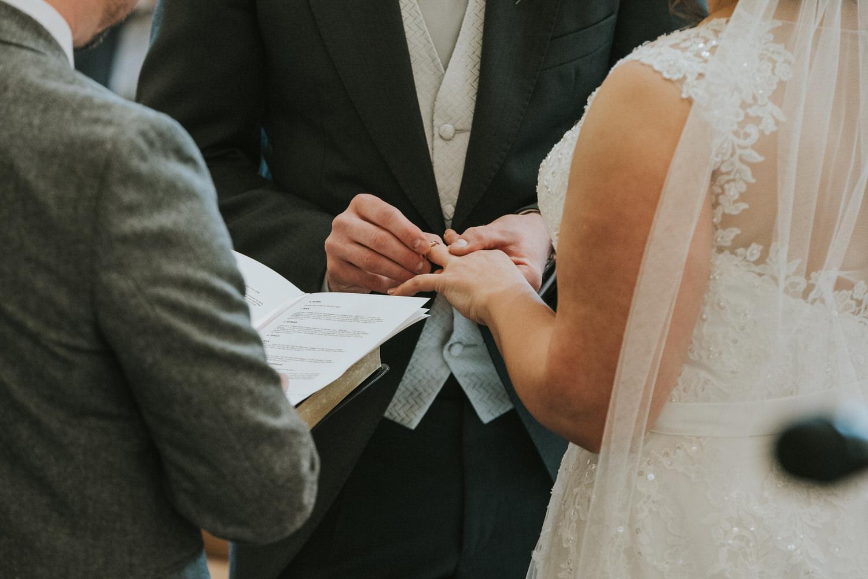 Leighinmohr House Hotel wedding bride and groom exchanging rings