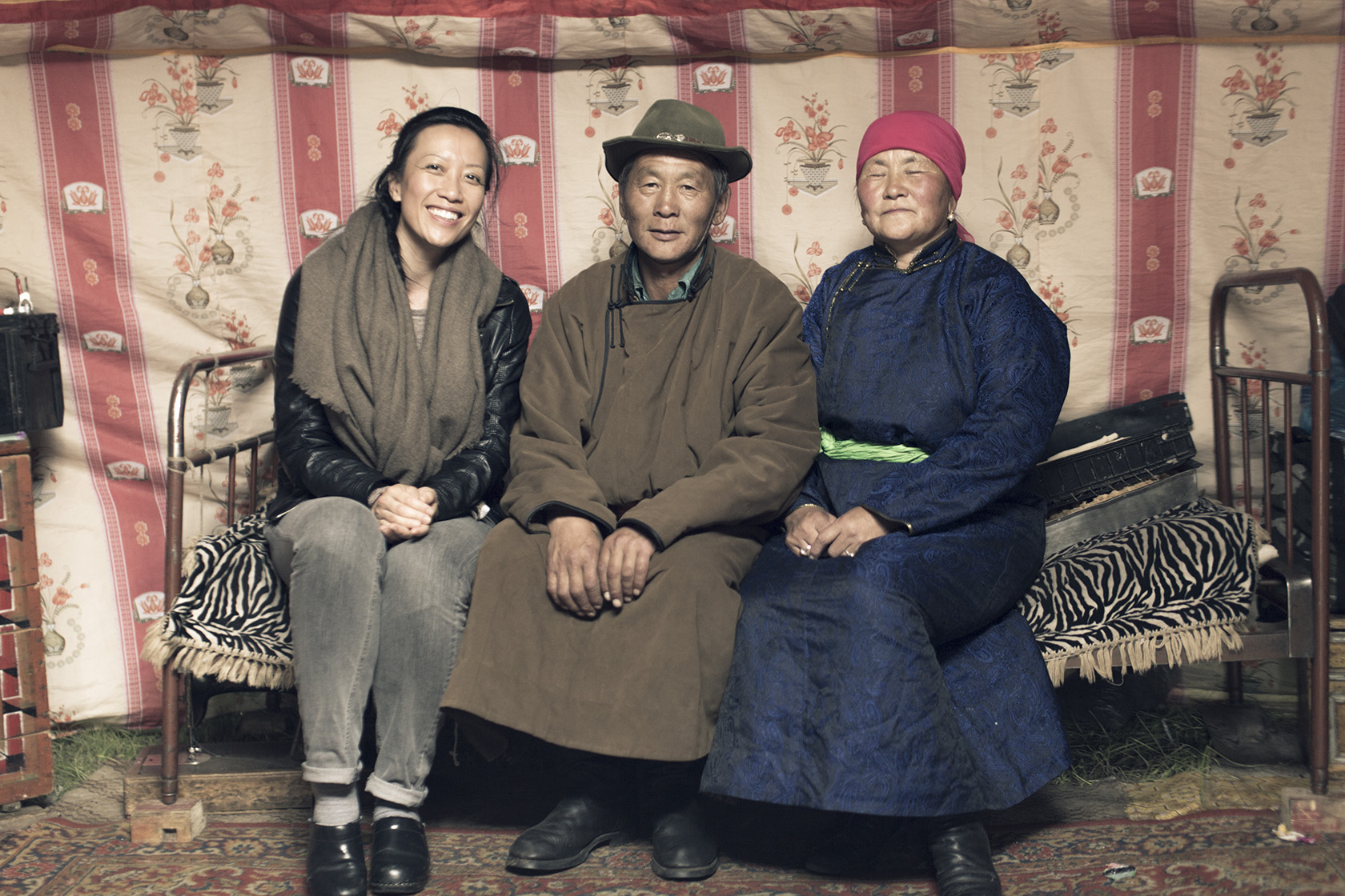 Tengri founder Nancy Johnston with a herder family in the Khangai region of Mongolia.