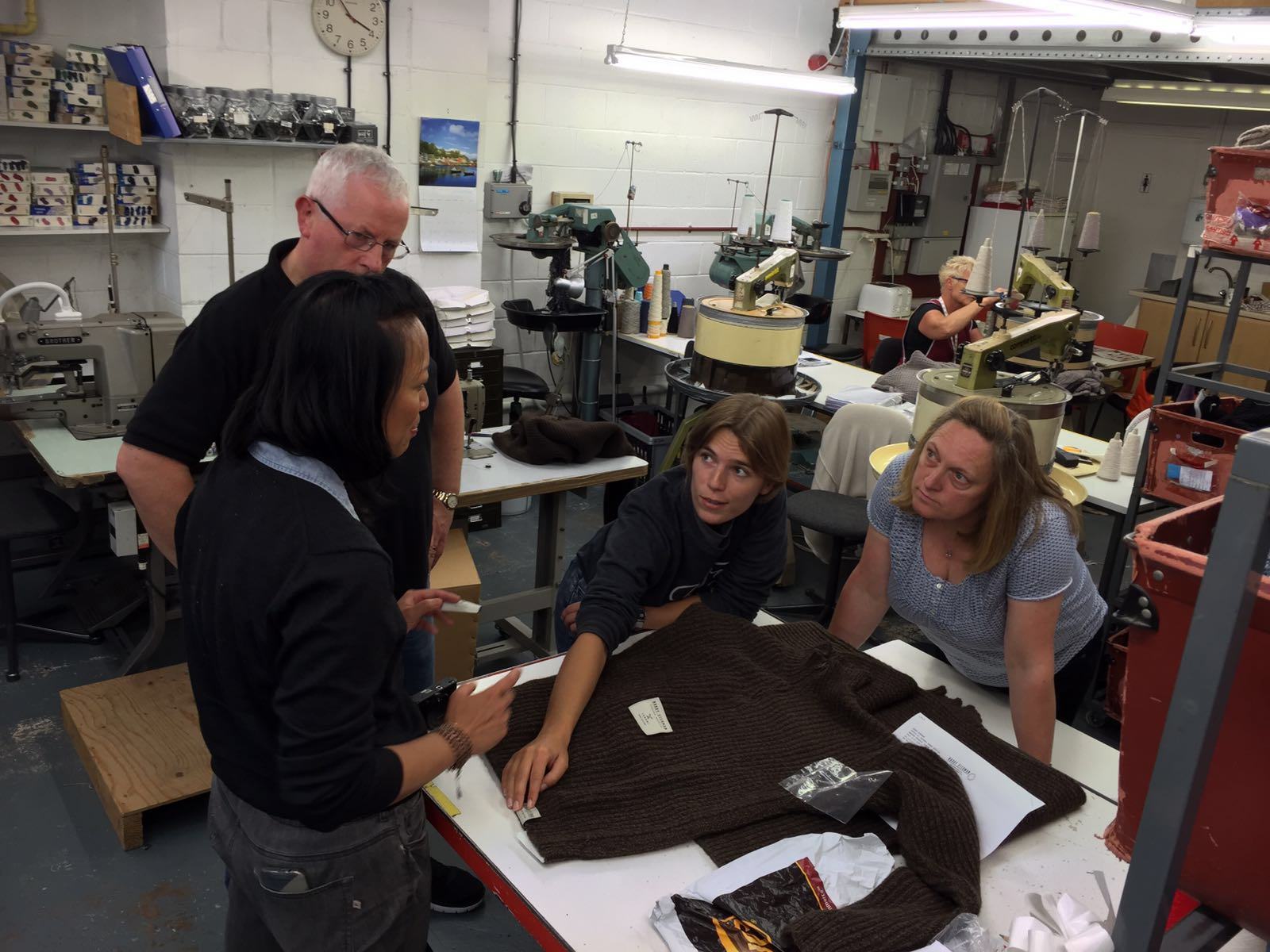 Nancy Johnston, Tengri CEO, and Amy Greenland, Harry Stedman designer, meeting the team in Scotland to discuss the finishing details for The Mariner sweater