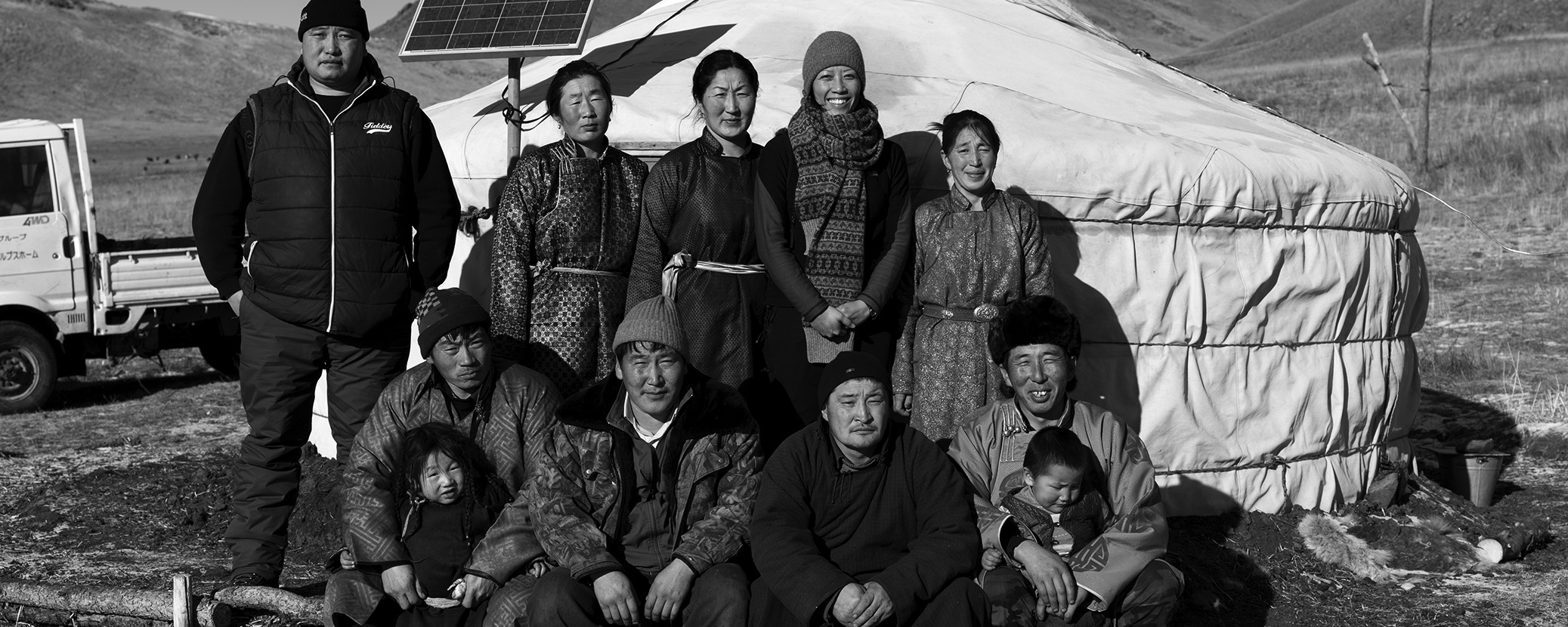 Nancy with the Mongolian herder families