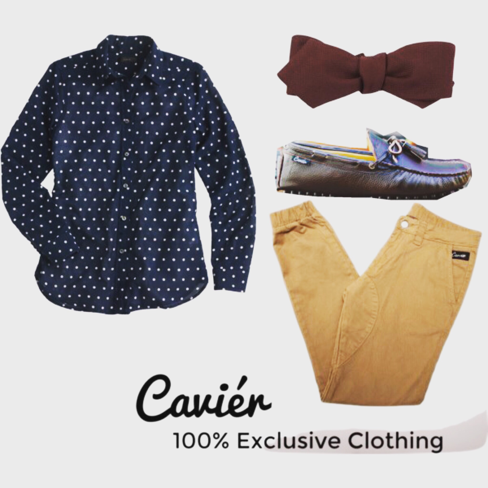 Shirt: JCREW.COM; $52  Joggers: CAVIERCLOTHING; $120  Loafers: CAVIERCLOTHING; $180  Bow tie: BARNYES.COM; $110
