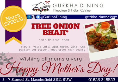 gurkha dining free onion bhaji march
