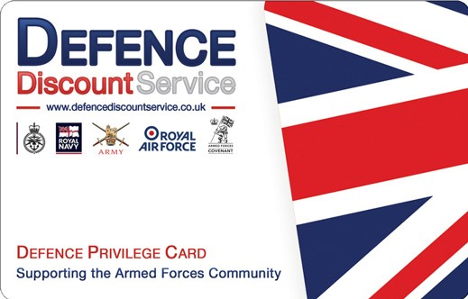 We accept defence privilege card