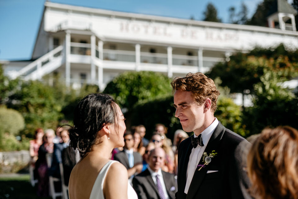 A wedding in the beautiful gardens at Roche Harbor