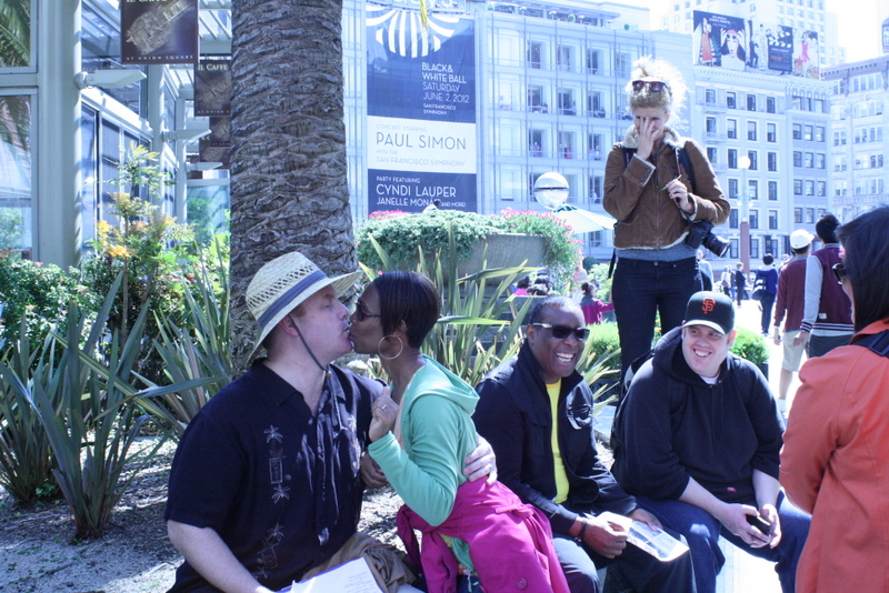 Special attention is paid to each guest on SK Morton's Lousy San Francisco Walking Tour —  at Union Square