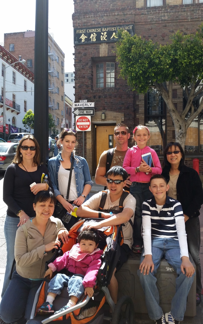 Kids are Welcome on SK Morton's Lousy San Francisco Walking Tour. Unless they're precocious. We don't need any precociousness around here.  - at Waverly Place in Chinatown.