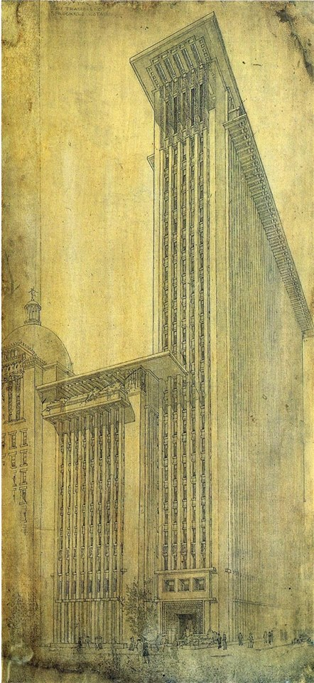 Frank Lloyd Wright's Pencil Design for the Call Building