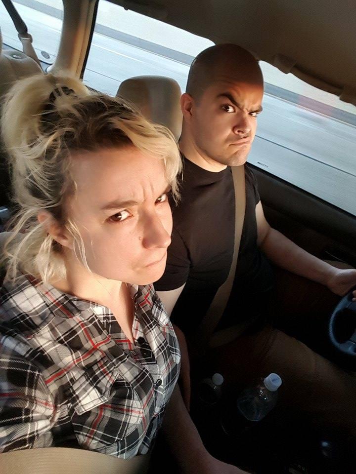 Lizzie & Peter sitting in a Sebring: S.I.N.G.I.N.G.