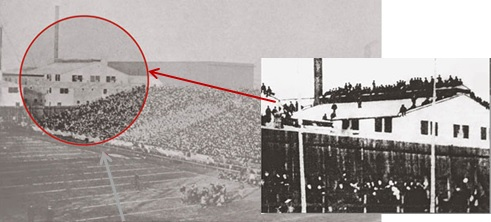 """The 10th """"Big Game"""" between Cal & Stanford on Thanksgiving day in San Francisco,1900. Twenty-seven died when the roof of the adjacent, Pacific Glass Works at 16th & Folsom collapsed under the weight of an overflow crowd of spectators."""
