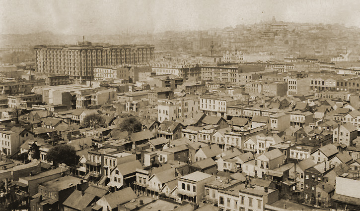 The Palace Hotel stands out from Nob Hill in 1875