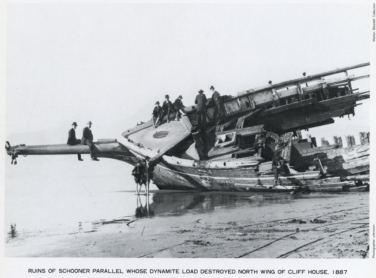 Half of the schooner Parallel which explosion destroyed much of the Cliff House in 1887