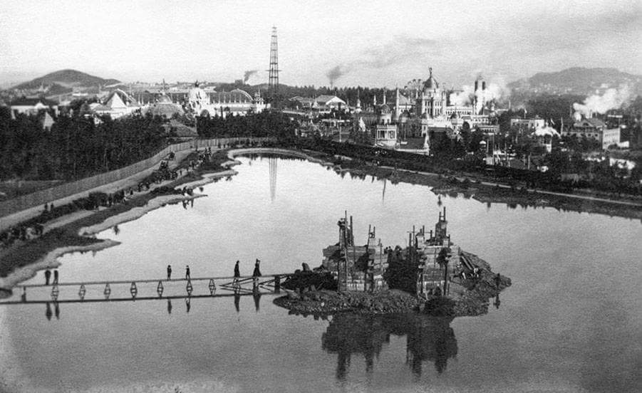 A view of the 1894 Mid Winter Expo from Strawberry Hill