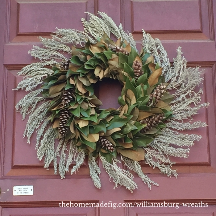 I adore this one and it's simplicity - magnolia leaves, pinecones, and it looked to me like dried thyme. Or maybe lavender. Either way - awesome. I love the look made by combining the front & backs of the leaves to give extra dimension.