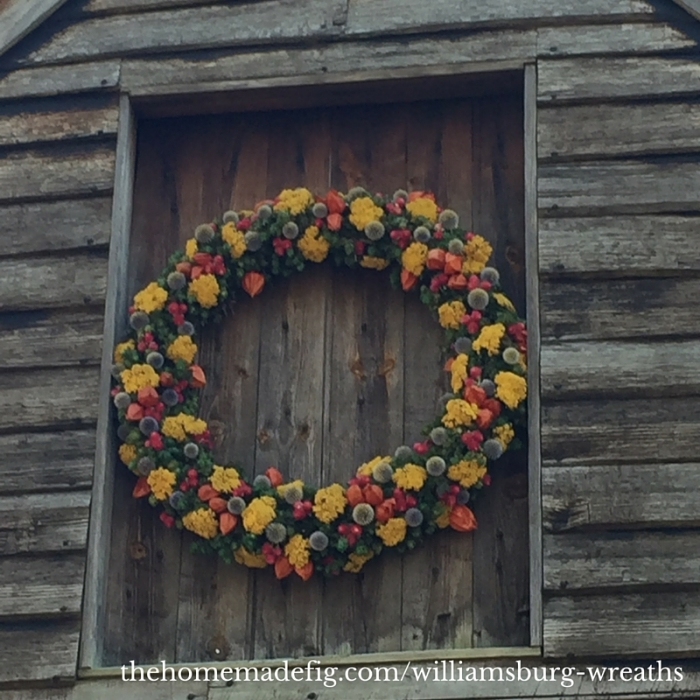 This wreath was HUGE and actually displayed at the top of a barn. It was completely covered with flowers and flower pods - no fruit here!