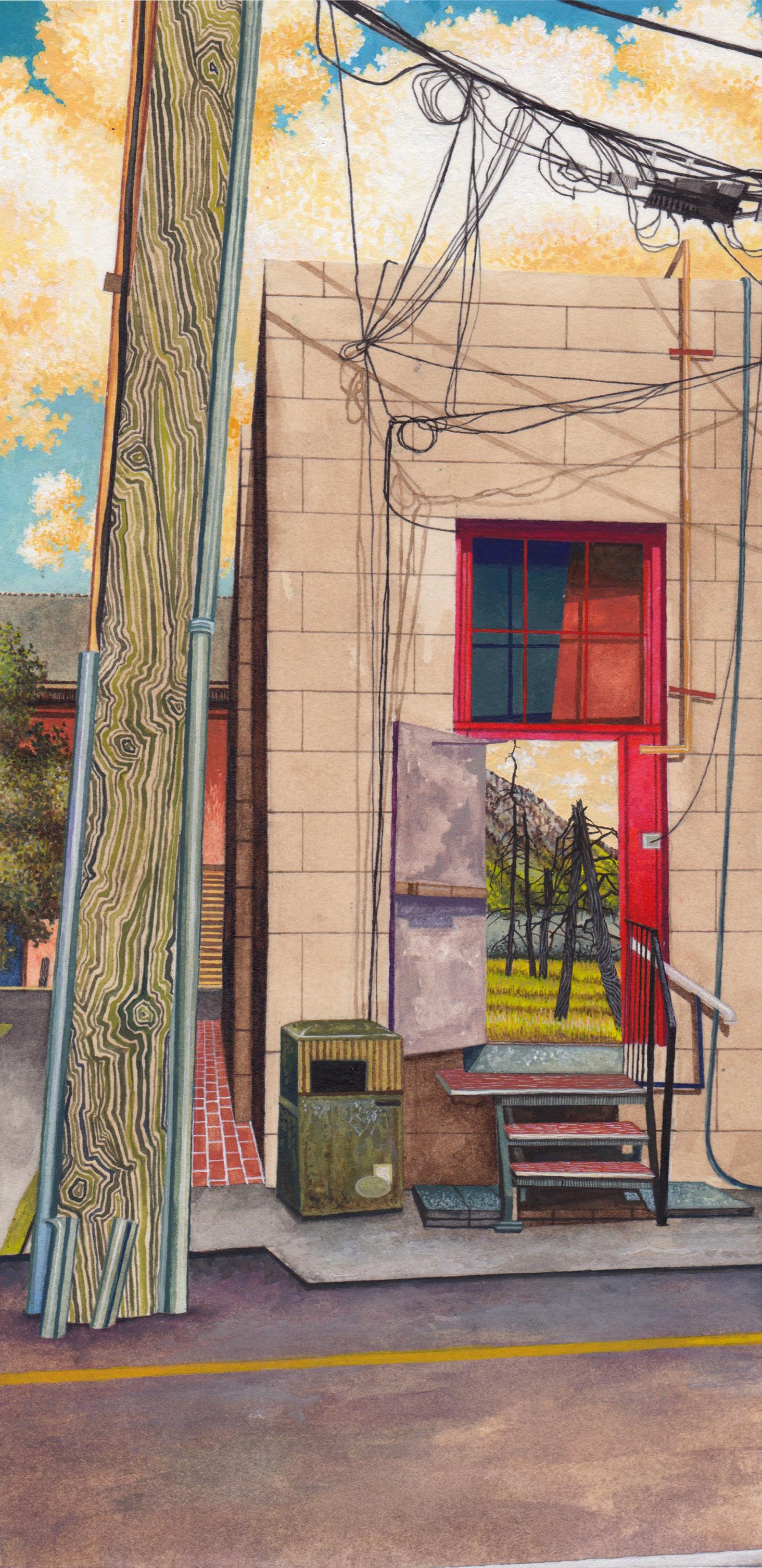 """Doorway III, gouache and ink on paper, 10"""" x 5""""2014."""