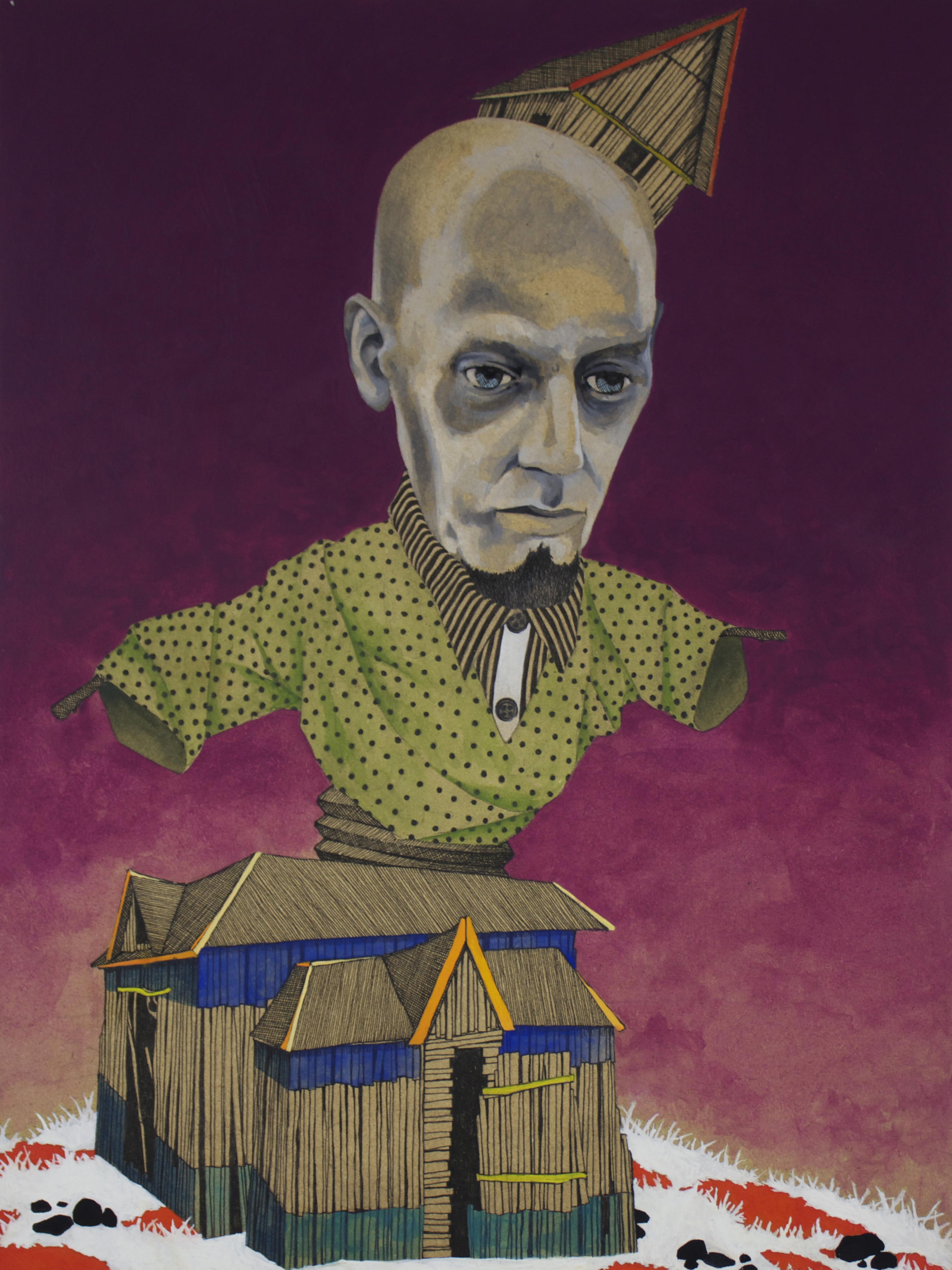"""Out of the Box, india ink, gouache, pen and enamel on panel, 13.5""""x10"""" 2013."""