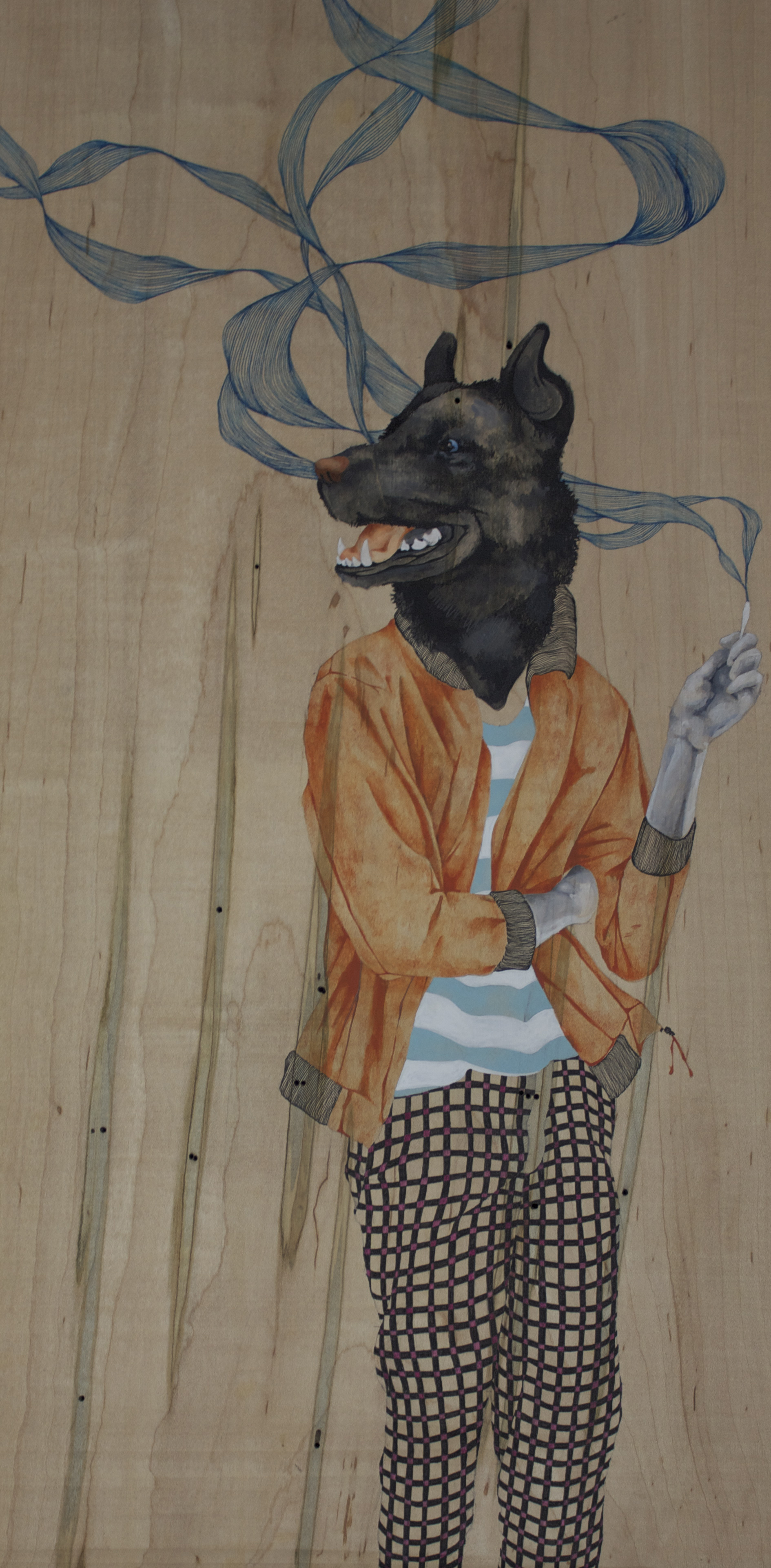 """Vice, enamel and pen on panel, 12""""x24"""" 2012."""