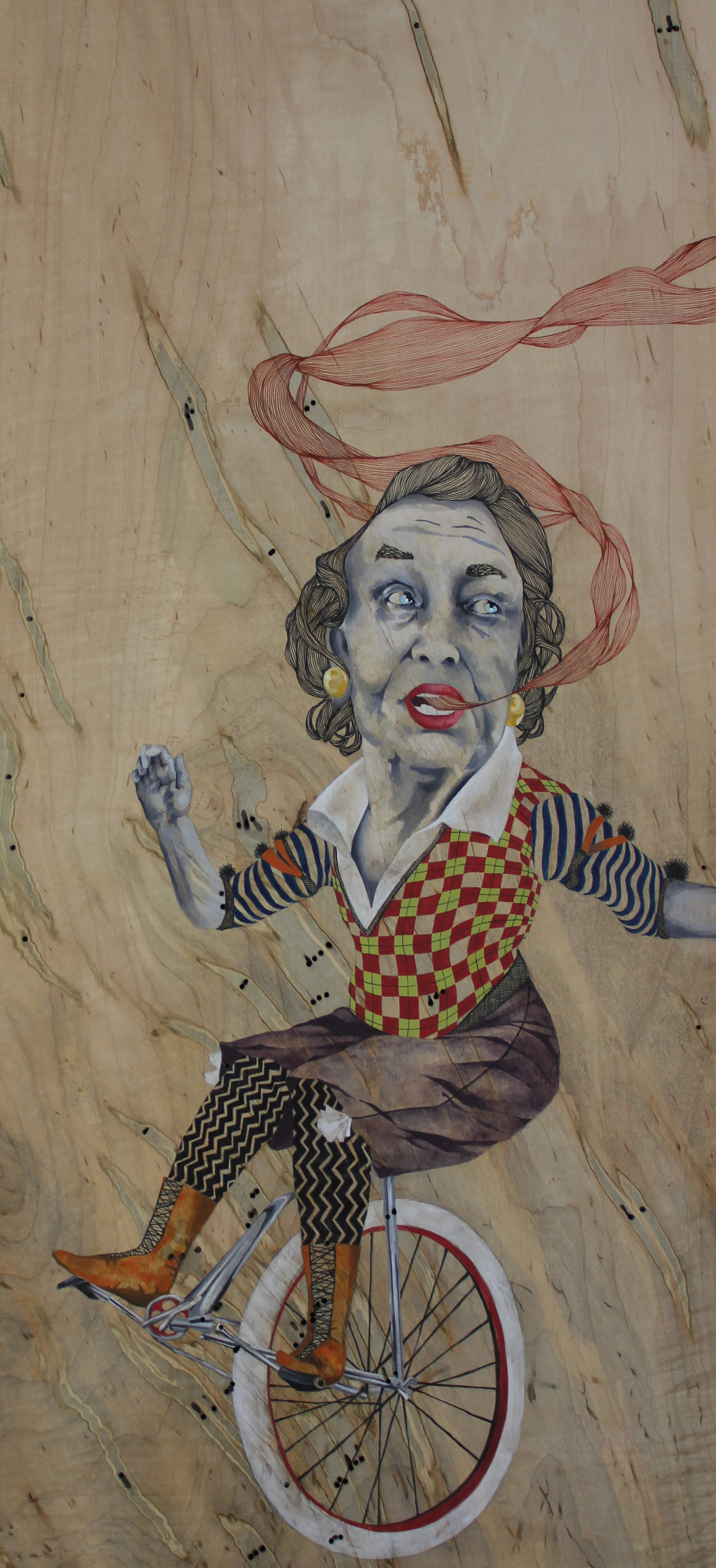 "Peddler, india ink, enamel and pen on panel, 12""x25"" 2013."