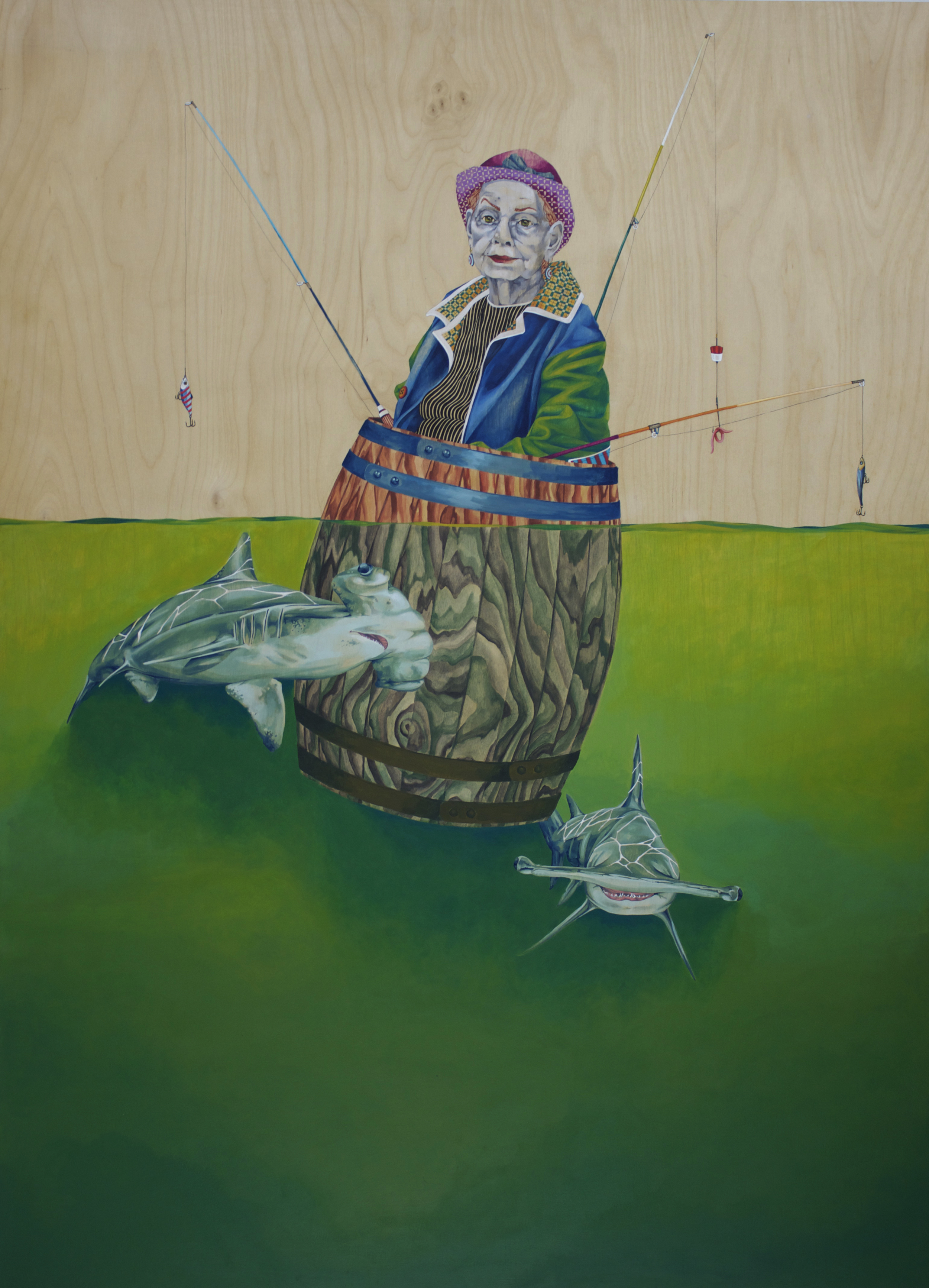 """The One We Call Gladys, india ink, enamel and pen on panel, 36""""x49"""" 2013."""