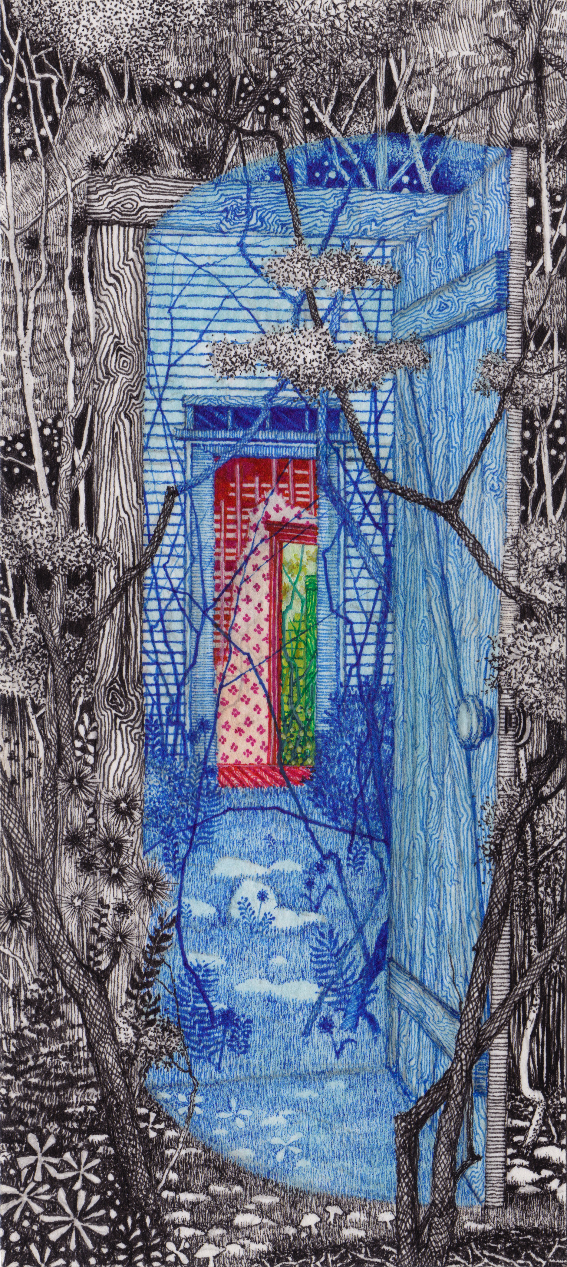 """House of Mirrors, gouache and ink on paper, 7"""" x 3"""" 2015."""