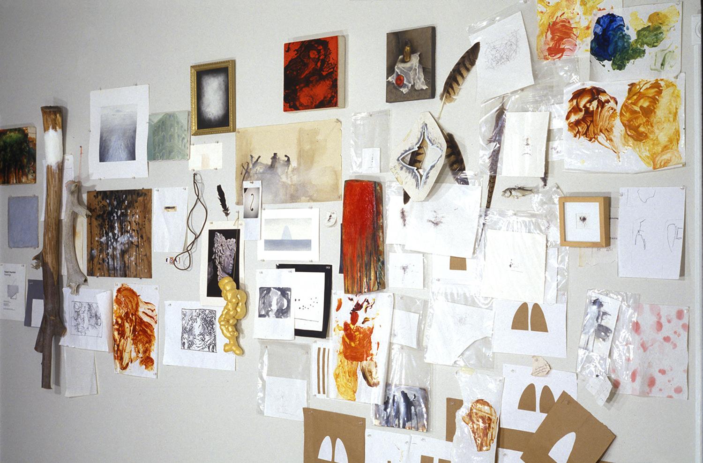 Robert Hoerlein  (installation view of exact re-creation of West wall of Robert Hoerlein studio), Gallery 51 East, Fairfield, Iowa, February 2002.