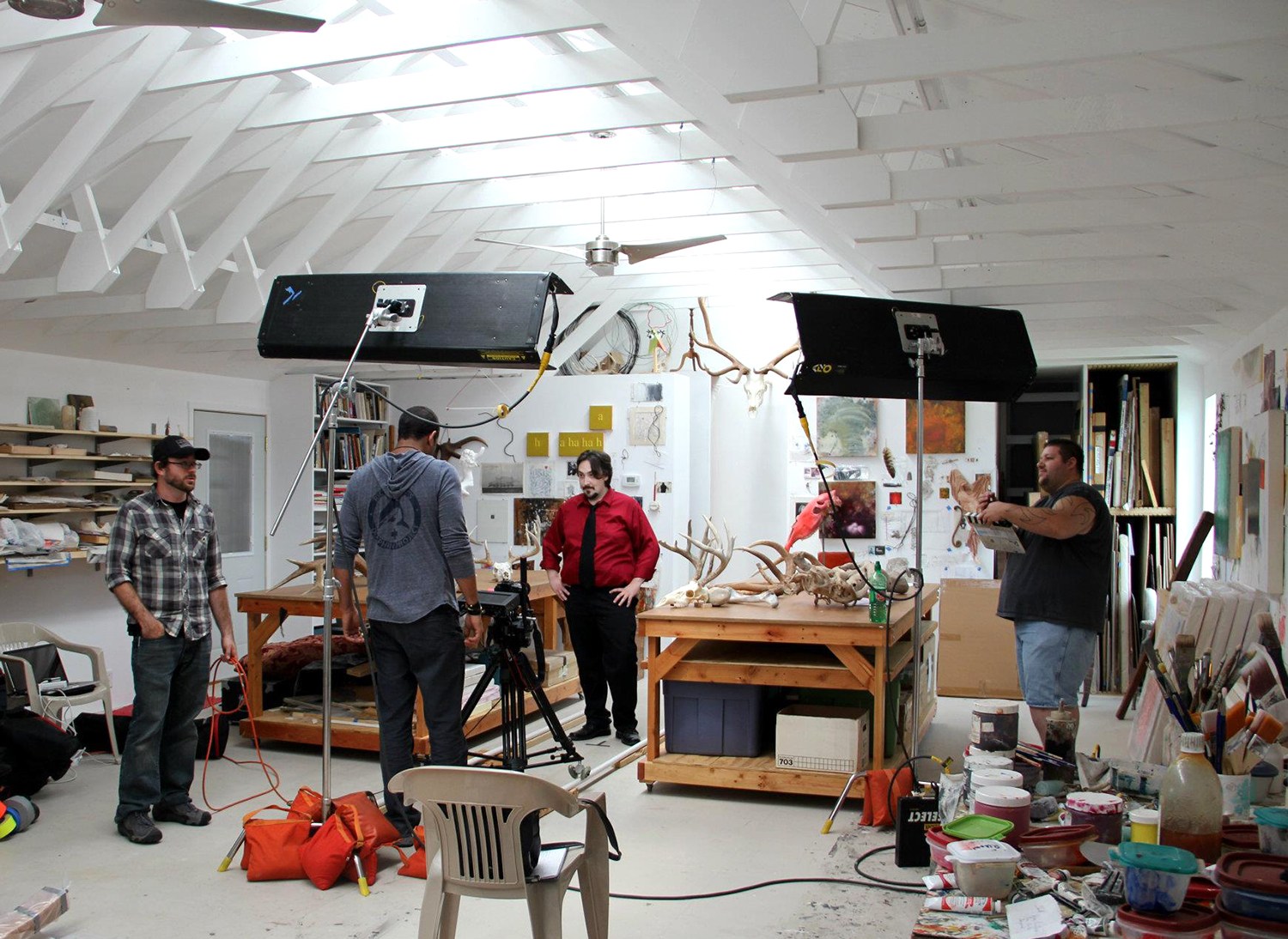 Robert Hoerlein studio  (crew shooting a segment of the feature length movie,  The Reality of Truth ), July, 2012.