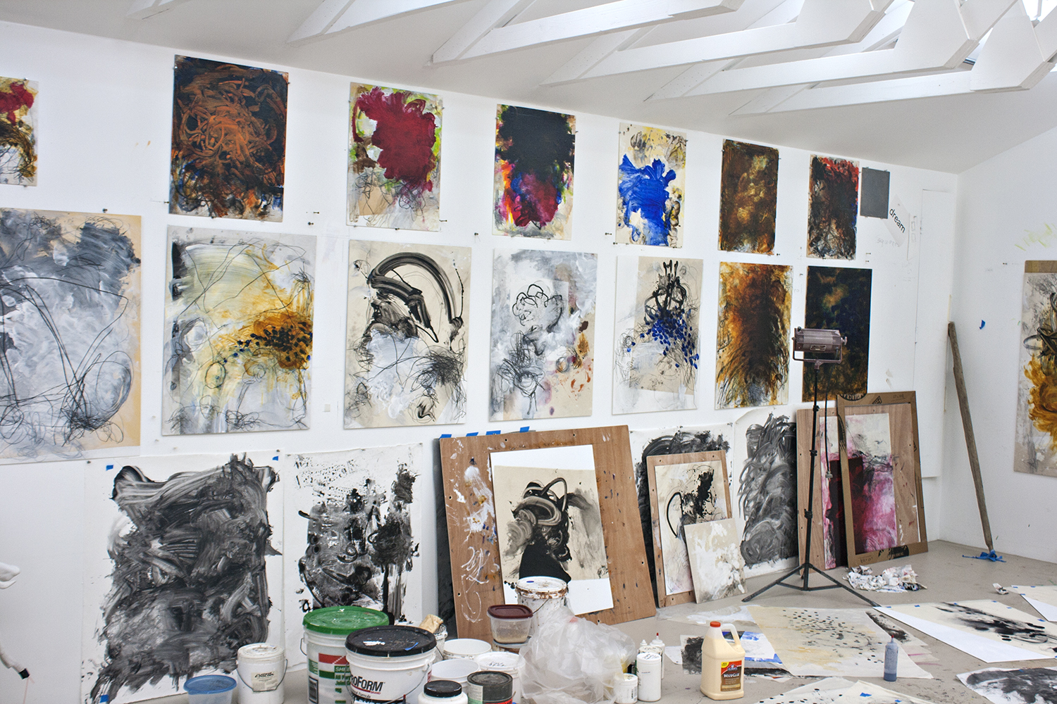 Robert Hoerlein studio , various finished and unfinished paintings, May 4, 2013