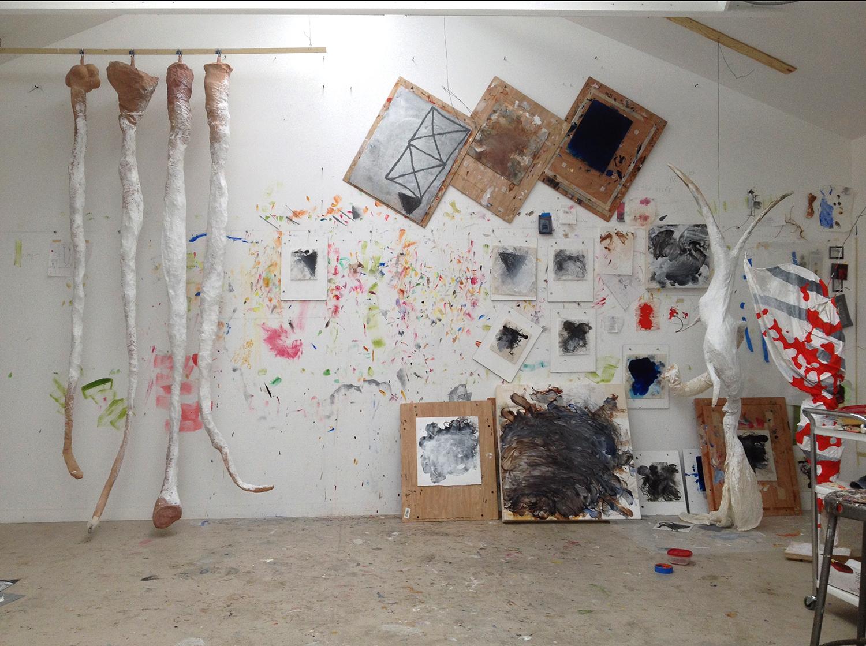 Robert Hoerlein studio  (various paintings in process), Feb 28, 2014.
