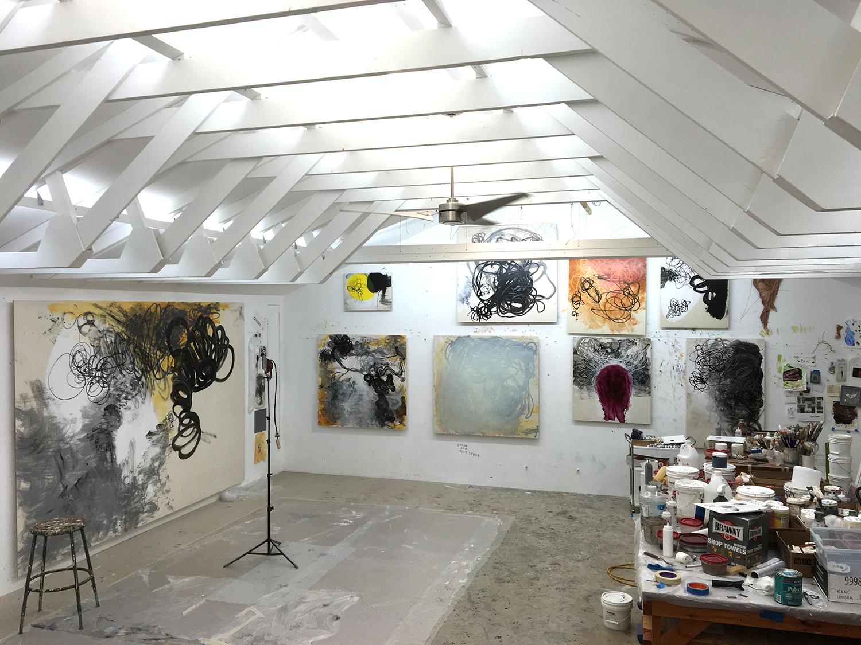 Robert Hoerlein studio , (east and north walls), May 16, 2016.
