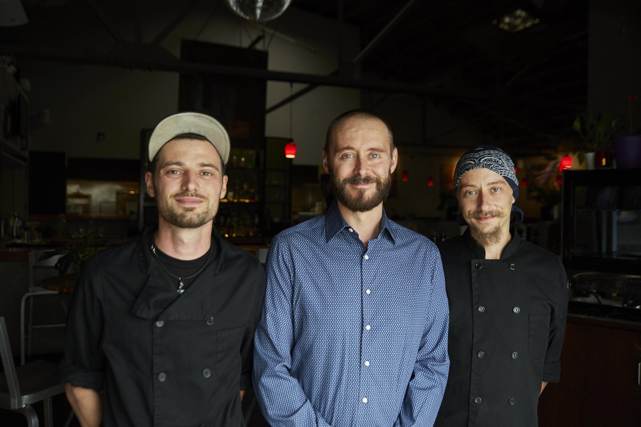 owner, casey staker with chefs ian schmidtt & Sebastian Lehnert