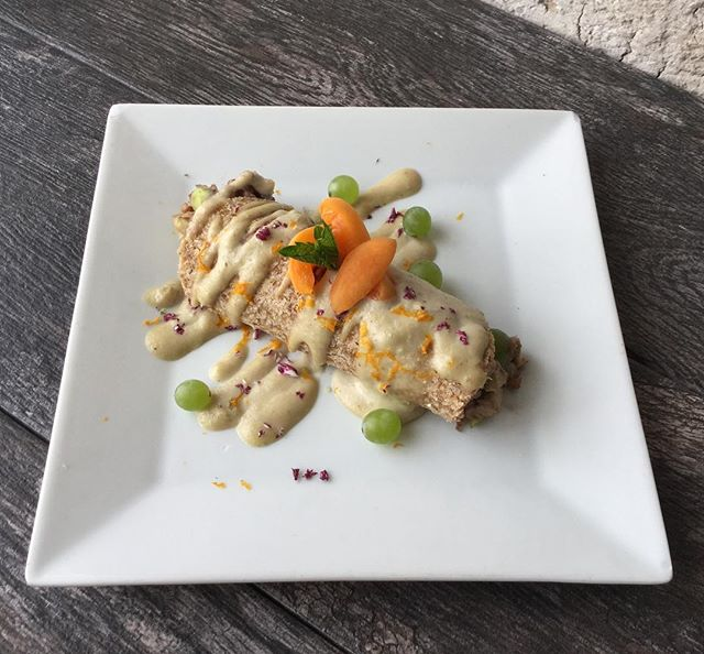 craving something sweet? our local love special tonight is a raw coconut flax crepe with apples, grapes, walnuts, and rum raisin cashew cream. only $5  #dessert #slcdining #vegan #glutenfree #locallove #eatlocal #supportlocal #slcvegan