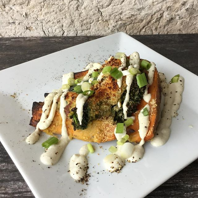 we're bringing back the sweet potato for tonight's special! it's smothered in our house cheese, broccoli, and ginger sour cream sauce. simple and delicious for $7 #whatveganseast #eatlocal #eatfresh #glutenfree #dairyfree #vegetarian #slcfood