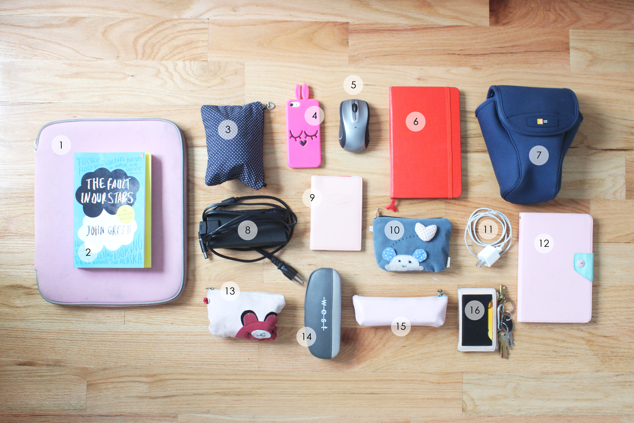 Contents of my carry-on tote: 1. Laptop + laptop sleeve 2. Book for the trip 3. DSLR lens + battery + charger 4. iPhone 5. Wireless mouse 6. Moleskine notebook 7. DSLR + DSLR sleeve 8. Laptop charger 9. Passport + passport holder 10. External hard drive + bag. 11. iPhone charger 12. iPad mini 13. Mini toiletries bag with essentials 14. Sunglasses + sunglasses case 15. Pencil case 16. Wallet + keys