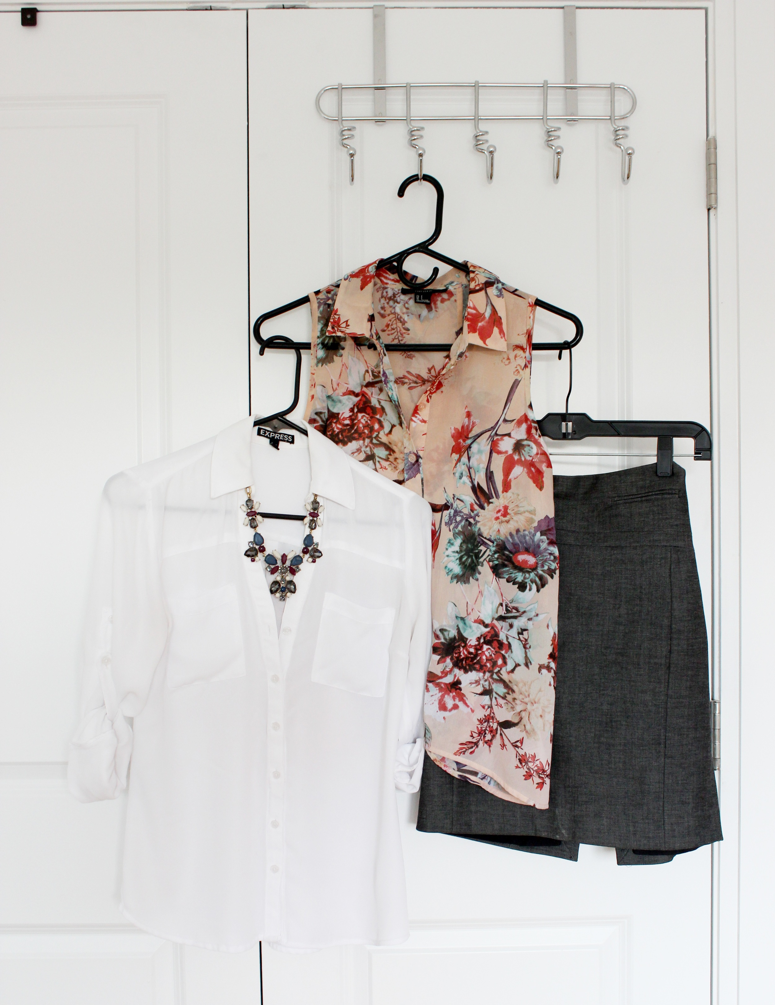 Left to right: 1. White shirt ( Express , old) 2. Necklace ( Jcrew , old) 3. Floral top ( Forever21 , old) 4. ( Express , old)