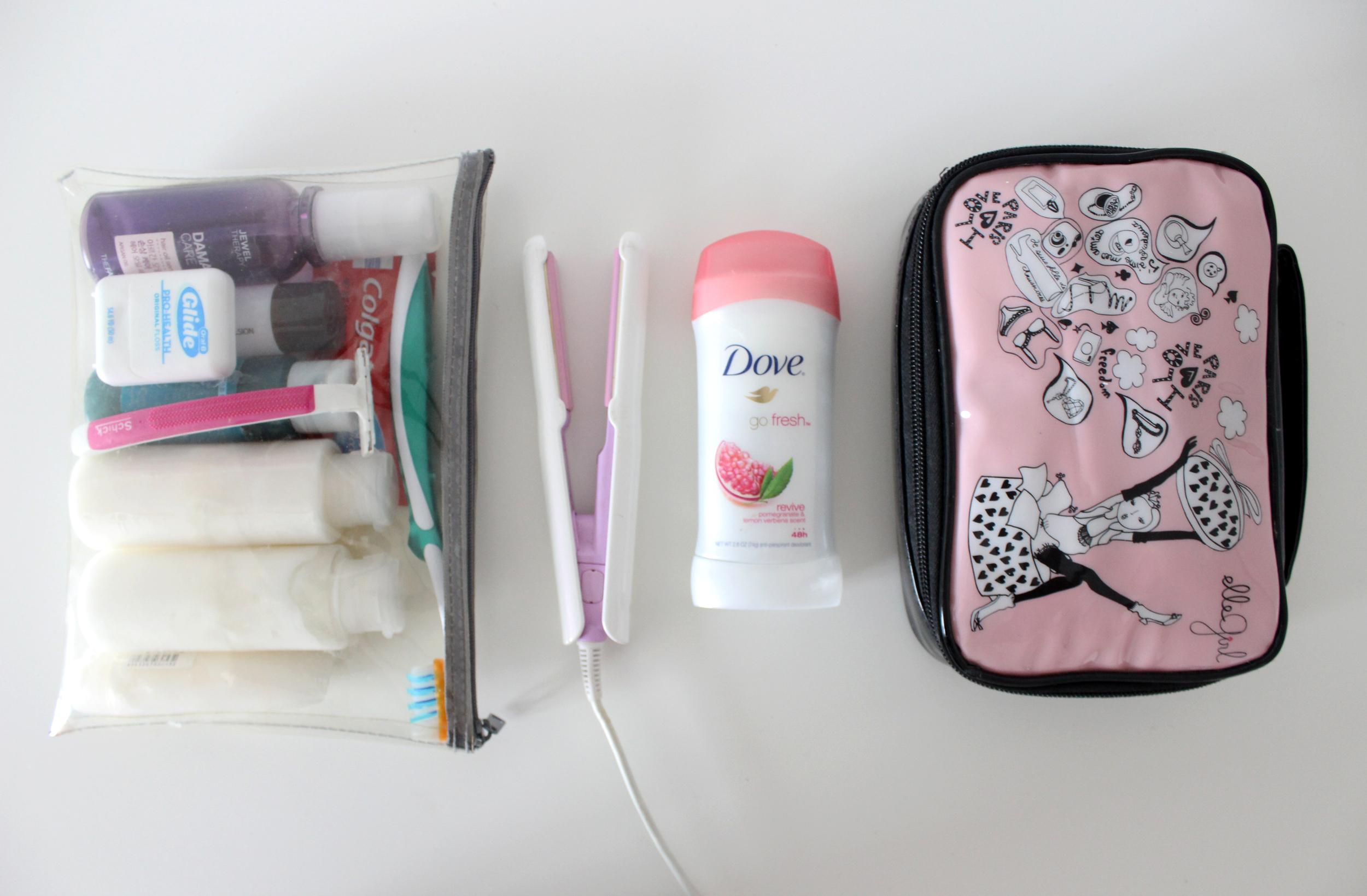 Left to right: 1. My toiletries container ( MUJI ) 2. Mini hair iron ( bought in Korea,  Stylerush  ;alternative  here ) 3. Deodorant ( Dove ) 4. Make-up bag ( Aritaum , bought in Korea)