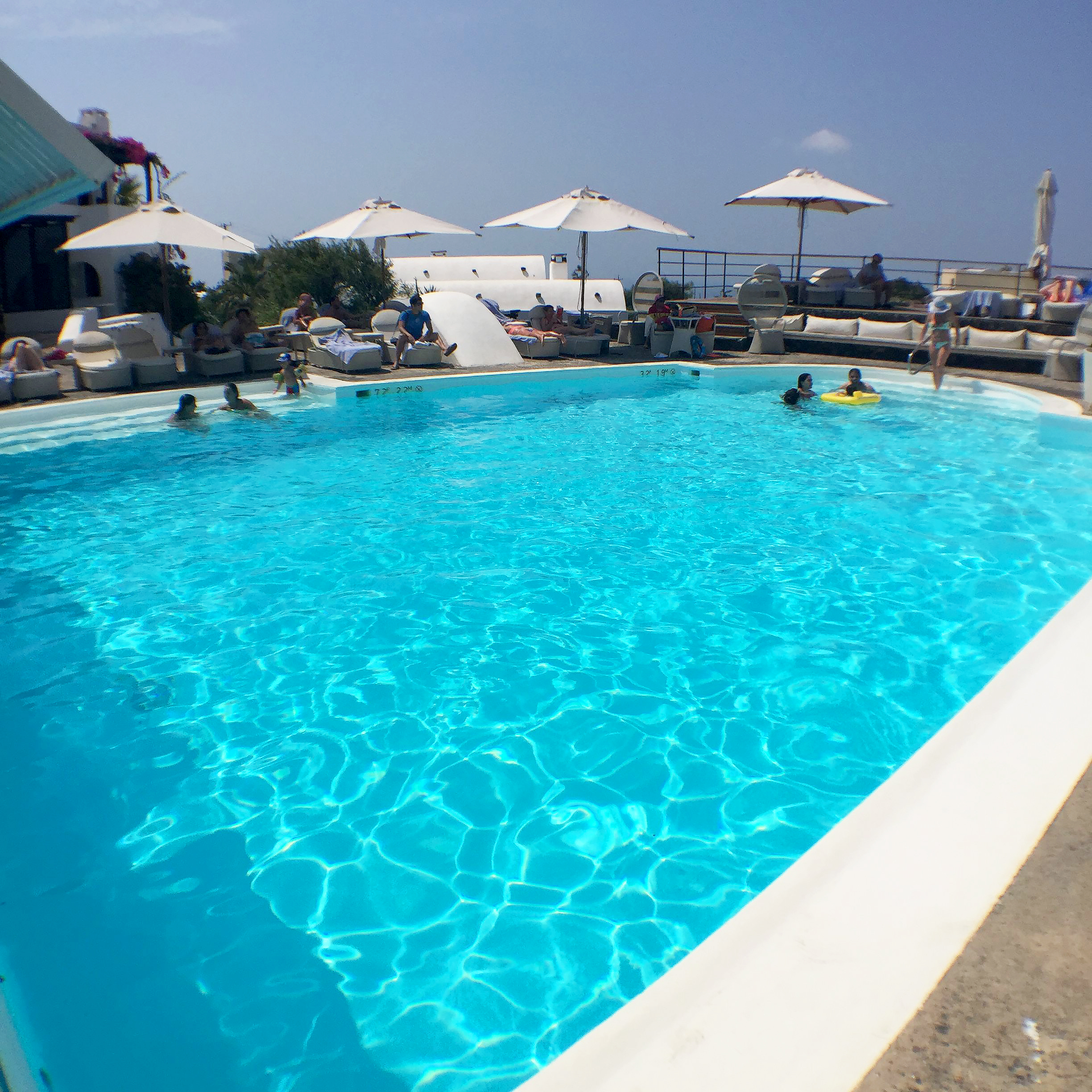 View of main Vedema pool at breakfast