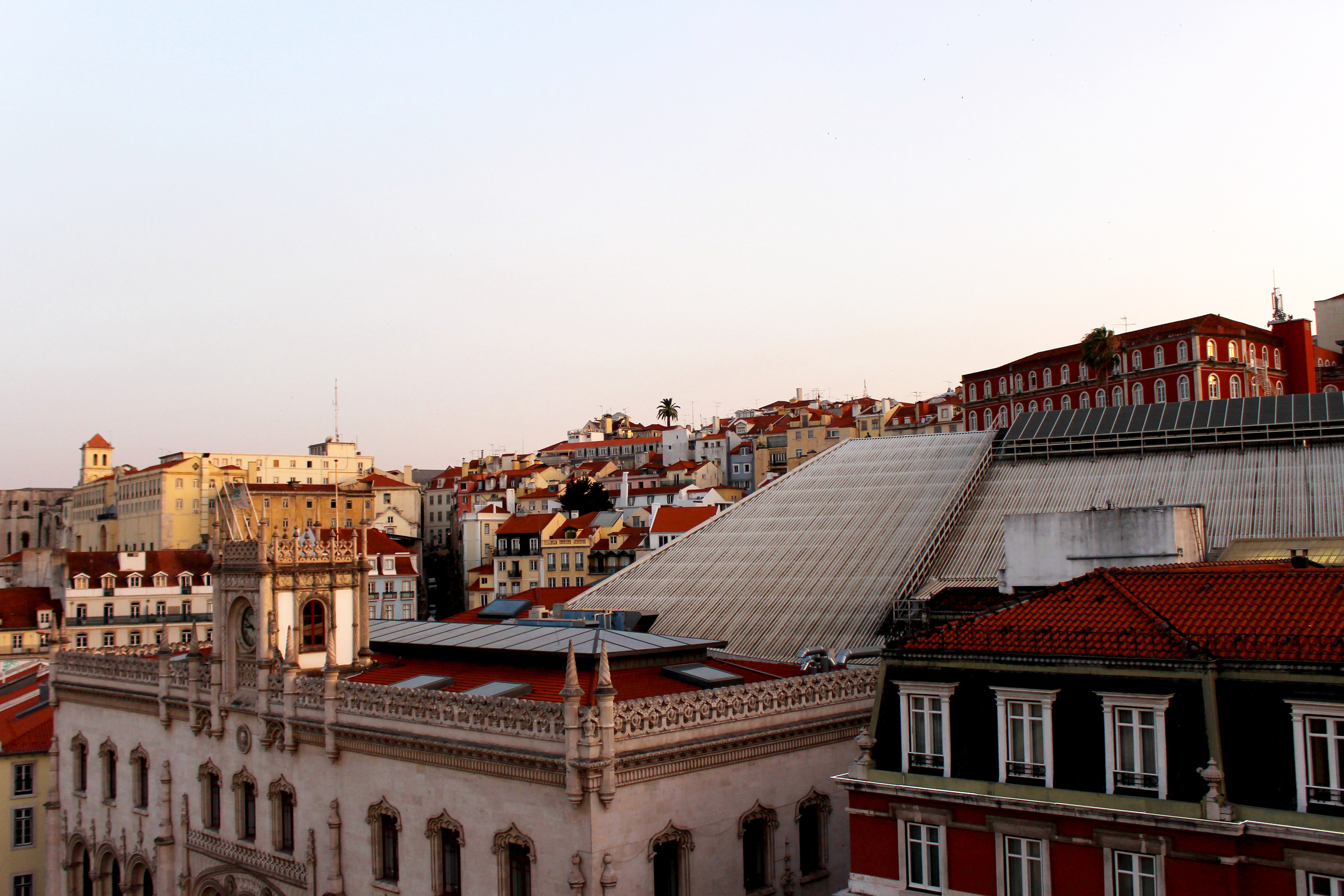 Admiring LIsbon's architecture from the rooftop terrace